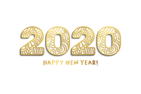 2020 New Year Numbers Illustrations Graphic Design
