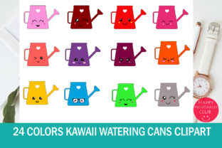 24 Colors Kawaii Watering Can Clipart Graphic By Happy Printables Club