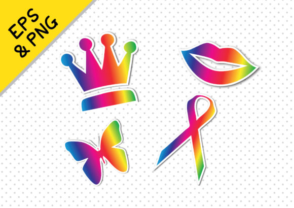 Print on Demand: 32 Rainbow LGBT Pride Stickers Graphic Icons By GraphicsBam Fonts - Image 3