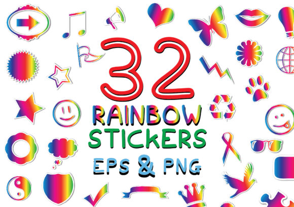 Download Free 32 Rainbow Lgbt Pride Stickers Graphic By Graphicsbam Fonts for Cricut Explore, Silhouette and other cutting machines.