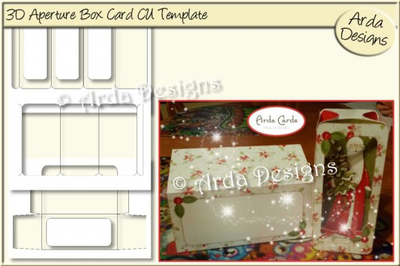 Download Free 3d Aperture Box Card Template Graphic By Arda Designs Creative for Cricut Explore, Silhouette and other cutting machines.