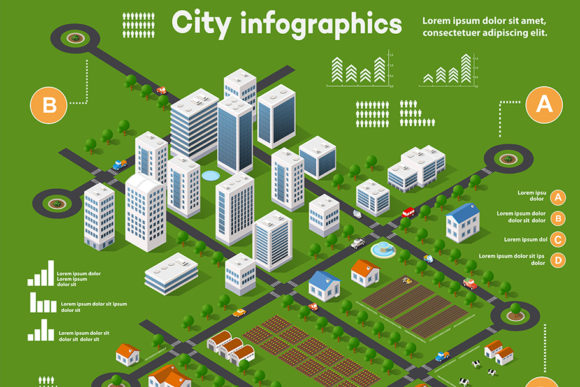 Print on Demand: 3D City Isometric Three-dimensional Info Graphic Infographics By AlexZel