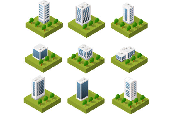 Print on Demand: 3D Isometric City Icons Graphic Objects By AlexZel