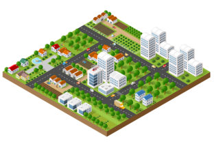 Download Free 3d Isometric City Landscape Grafico Por Alexzel Creative Fabrica SVG Cut Files
