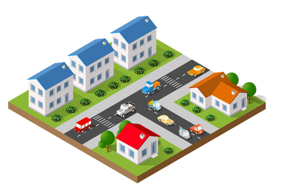 Download Free 3d Isometric Landscape Of A Small Town Graphic By Alexzel for Cricut Explore, Silhouette and other cutting machines.