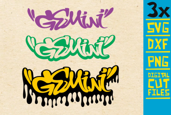 Download Free 3x Gemini Graffiti Graphic By Svgyeahyouknowme Creative Fabrica for Cricut Explore, Silhouette and other cutting machines.