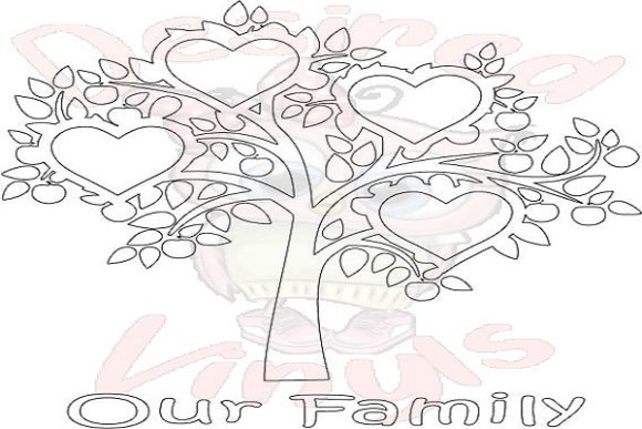 Download Free 4 Heart Family Tree Graphic By Desired Vinyls Creative Fabrica for Cricut Explore, Silhouette and other cutting machines.