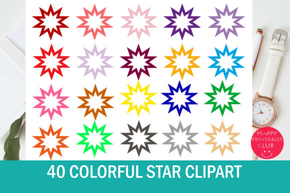 Print on Demand: 40 Star Clipart Set - Stars Graphics Grafik Illustrationen von Happy Printables Club