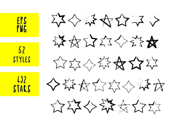 Print on Demand: 432 Hand Drawn Stars Graphic Objects By GraphicsBam Fonts - Image 2