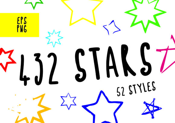 Print on Demand: 432 Hand Drawn Stars Graphic Objects By GraphicsBam Fonts - Image 1