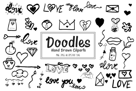 Download Free 46 Doodles Hand Drawn Cliparts Graphic By Creative Tacos for Cricut Explore, Silhouette and other cutting machines.