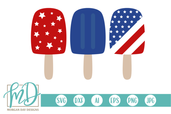Print on Demand: 4th of July Popsicles SVG Graphic Crafts By Morgan Day Designs