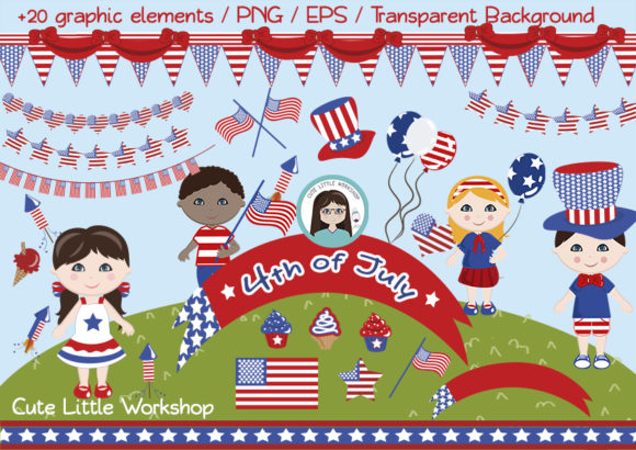 Download Free 4th Of July Vector Clipart Graphic By Cutelittleclipart for Cricut Explore, Silhouette and other cutting machines.