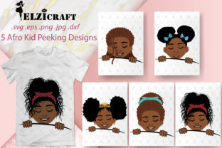 5 Afro Kids Peeking Designs Graphic Crafts By elzicraft