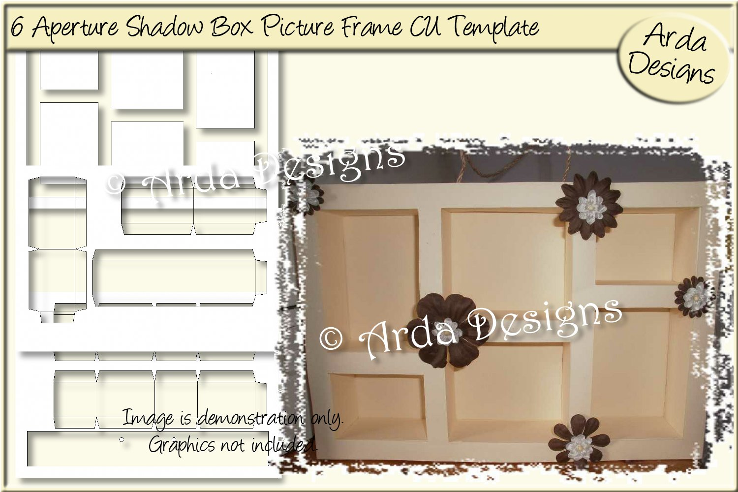 6 Aperture Shadow Box Frame Cu Template Graphic By Arda Designs Creative Fabrica