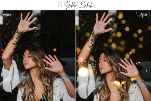 Print on Demand: 60 Golden Bokeh Lights Effect Photo over Graphic Illustrations By 3Motional
