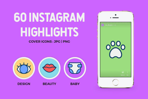 60 Instagram Icons Highlights Graphic By abstractocreate
