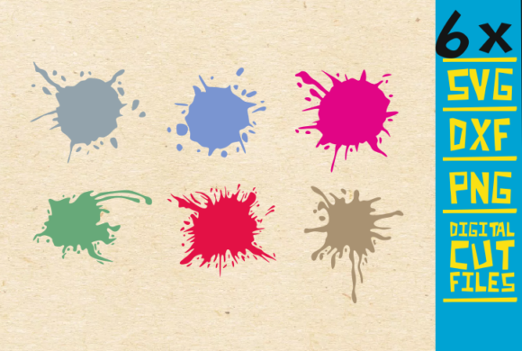 Download Free 6x Splatter Bundle Svg Paint Splatter Graphic By for Cricut Explore, Silhouette and other cutting machines.