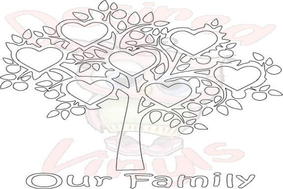 Download Free 7 Heart Family Tree Graphic By Desired Vinyls Creative Fabrica for Cricut Explore, Silhouette and other cutting machines.
