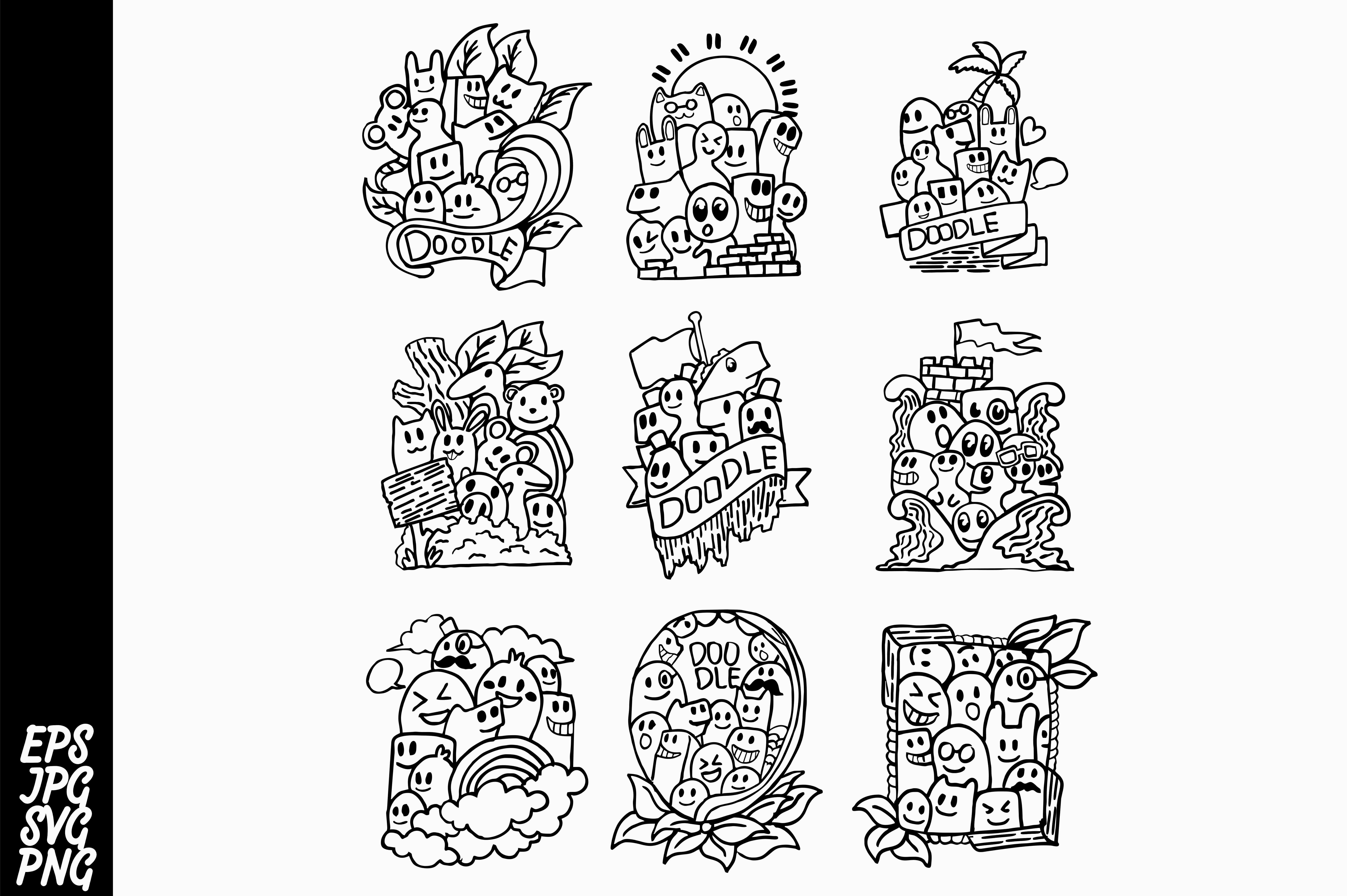 Download Free 9 Doodle Design Svg Bundle Graphic By Arsa Adjie Creative Fabrica for Cricut Explore, Silhouette and other cutting machines.