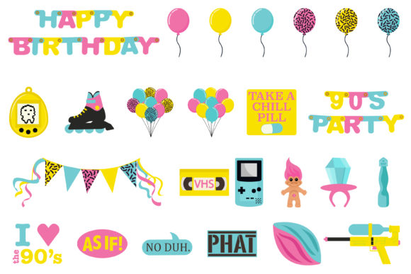 90's Birthday Party Clipart Graphic Download