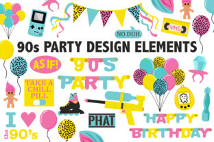 90's Birthday Party Clipart Graphic By Mine Eyes Design