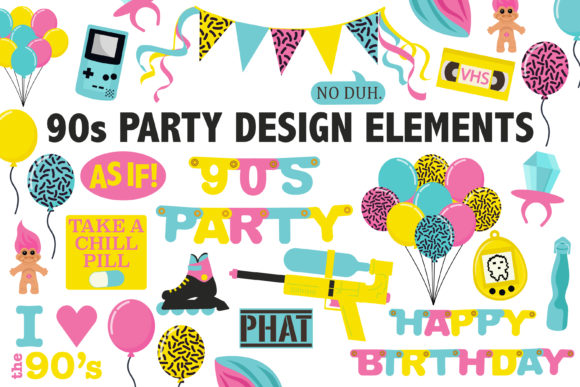 Print on Demand: 90's Birthday Party Clipart Grafik Icons von Mine Eyes Design