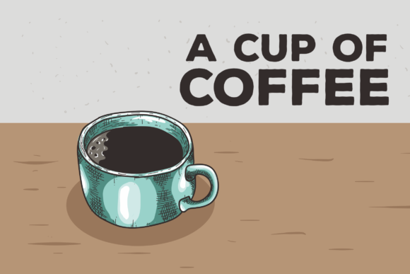 Print on Demand: A Cup of Coffee Vector Background Graphic Illustrations By peterdraw
