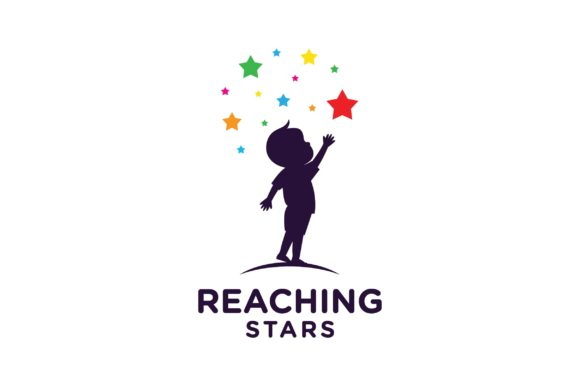 A Kid Reaching Stars Logo Design Graphic Icons By nuranitalutfiana92