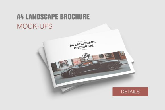 A4 Landscape Brochure/Magazine Mockups Graphic Product Mockups By graphiccrew