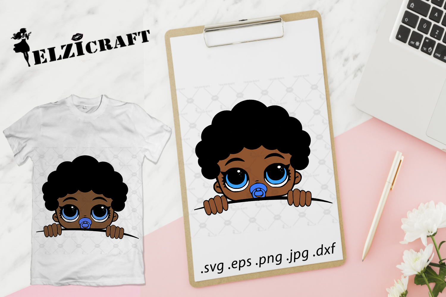 Download Free Afro Baby Boy Peeking Design Graphic By Elzicraft Creative Fabrica for Cricut Explore, Silhouette and other cutting machines.