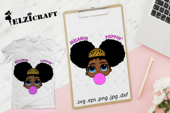 Afro Baby Girl Melanin Poppin Design Graphic Crafts By elzicraft