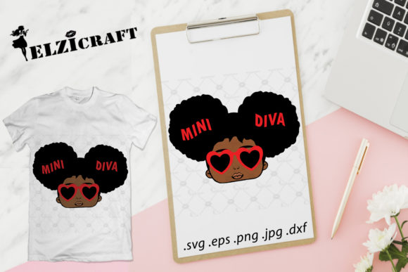 Download Free Afro Baby Girl Mini Diva Design Graphic By Elzicraft Creative for Cricut Explore, Silhouette and other cutting machines.