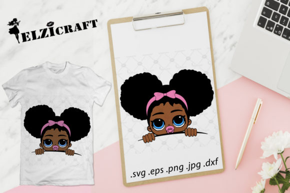 Download Free Afro Baby Girl Peeking Graphic By Elzicraft Creative Fabrica for Cricut Explore, Silhouette and other cutting machines.