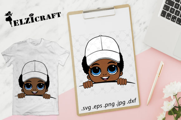 Afro Boy with Hat Design Graphic Crafts By elzicraft