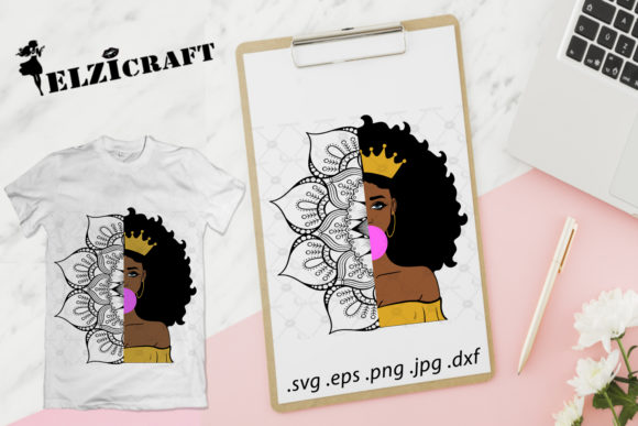 Afro Girl Mandala Zentangle Design Graphic By Elzicraft