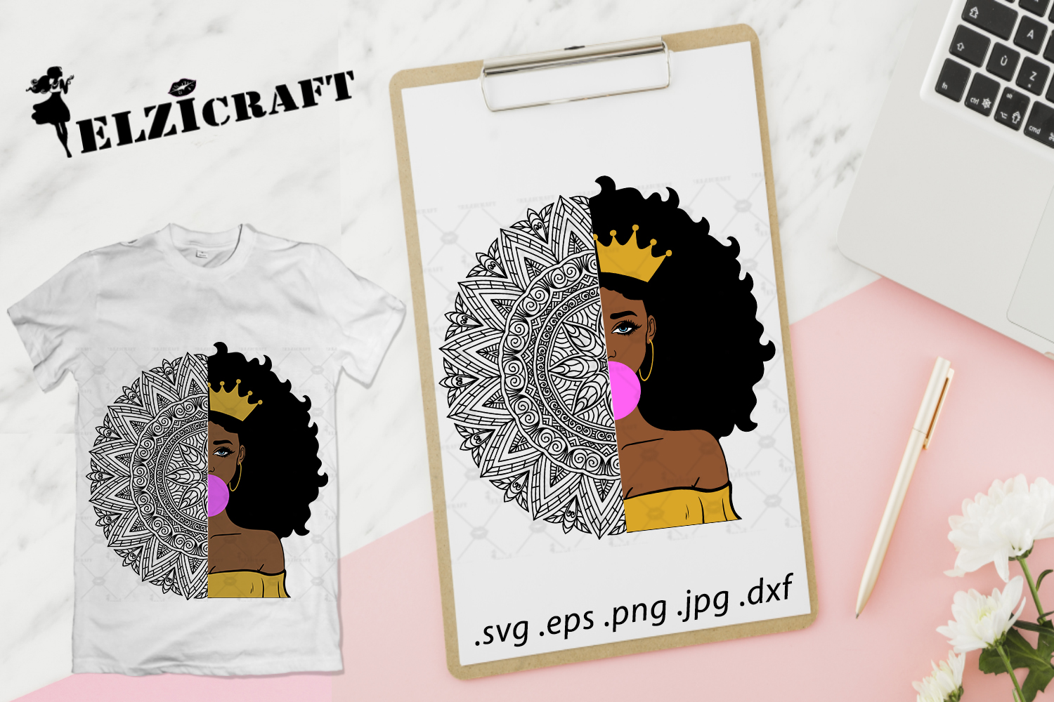 Download Free Afro Girl Mandala Zentangle Design Graphic By Elzicraft for Cricut Explore, Silhouette and other cutting machines.