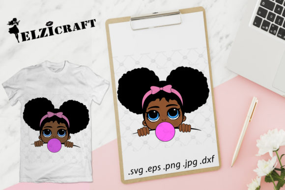 Download Free Afro Girl Peeking Melanin Poppin Design Graphic By Elzicraft for Cricut Explore, Silhouette and other cutting machines.