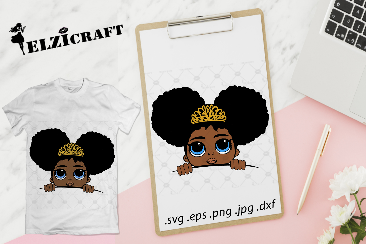 Download Free Afro Girl Peeking Princess Design Graphic By Elzicraft for Cricut Explore, Silhouette and other cutting machines.