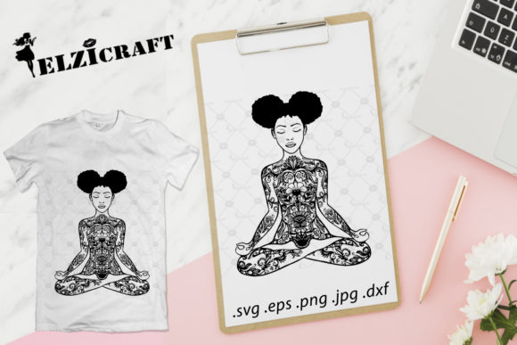 Download Free Afro Girl Yoga Mandala Zentangle Graphic By Elzicraft for Cricut Explore, Silhouette and other cutting machines.