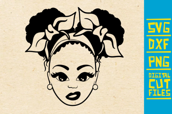 Download Free Afro Girl With Hair Bow Graphic By Svgyeahyouknowme Creative for Cricut Explore, Silhouette and other cutting machines.