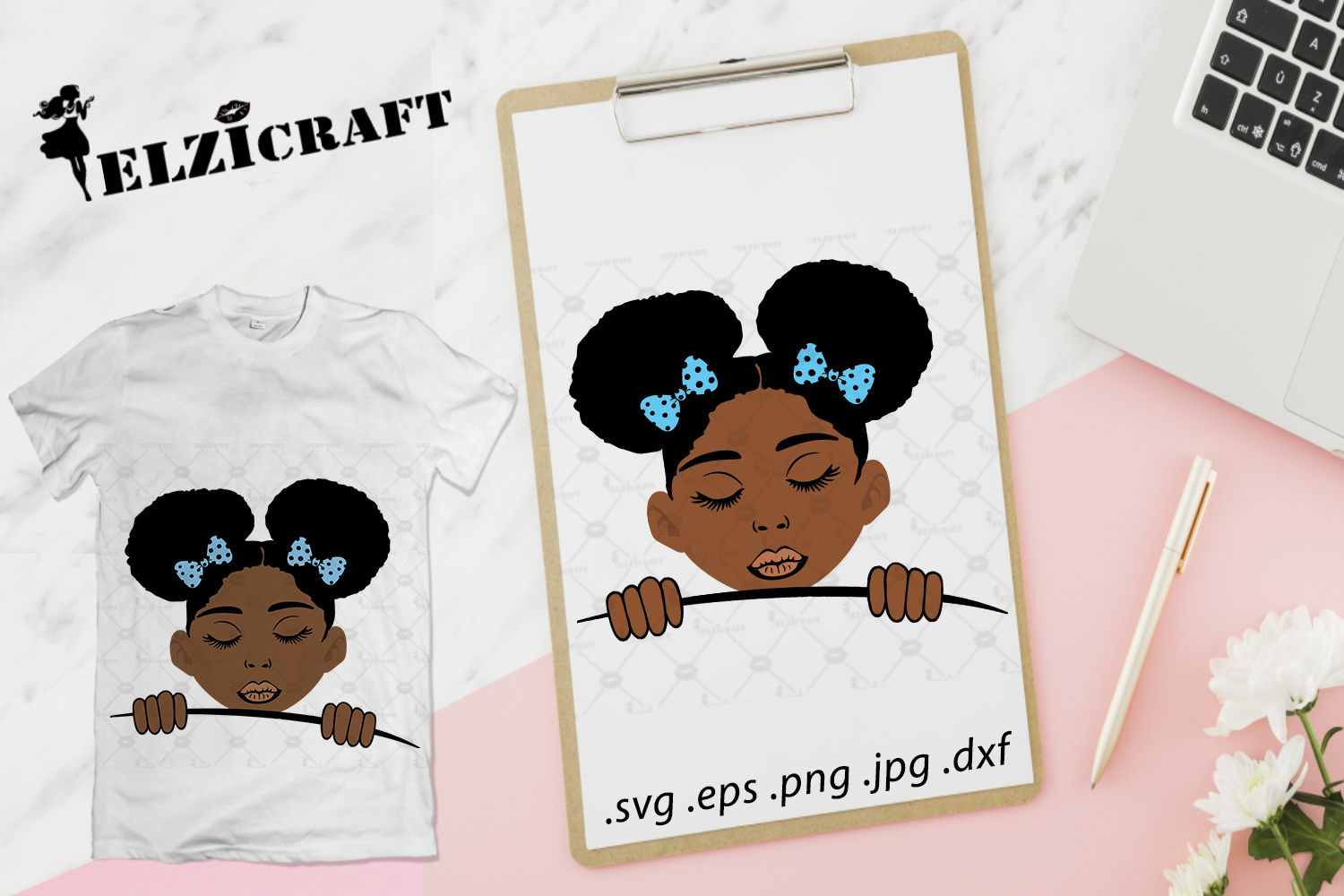 Download Free Afro Kid Peeking Design Graphic By Elzicraft Creative Fabrica for Cricut Explore, Silhouette and other cutting machines.