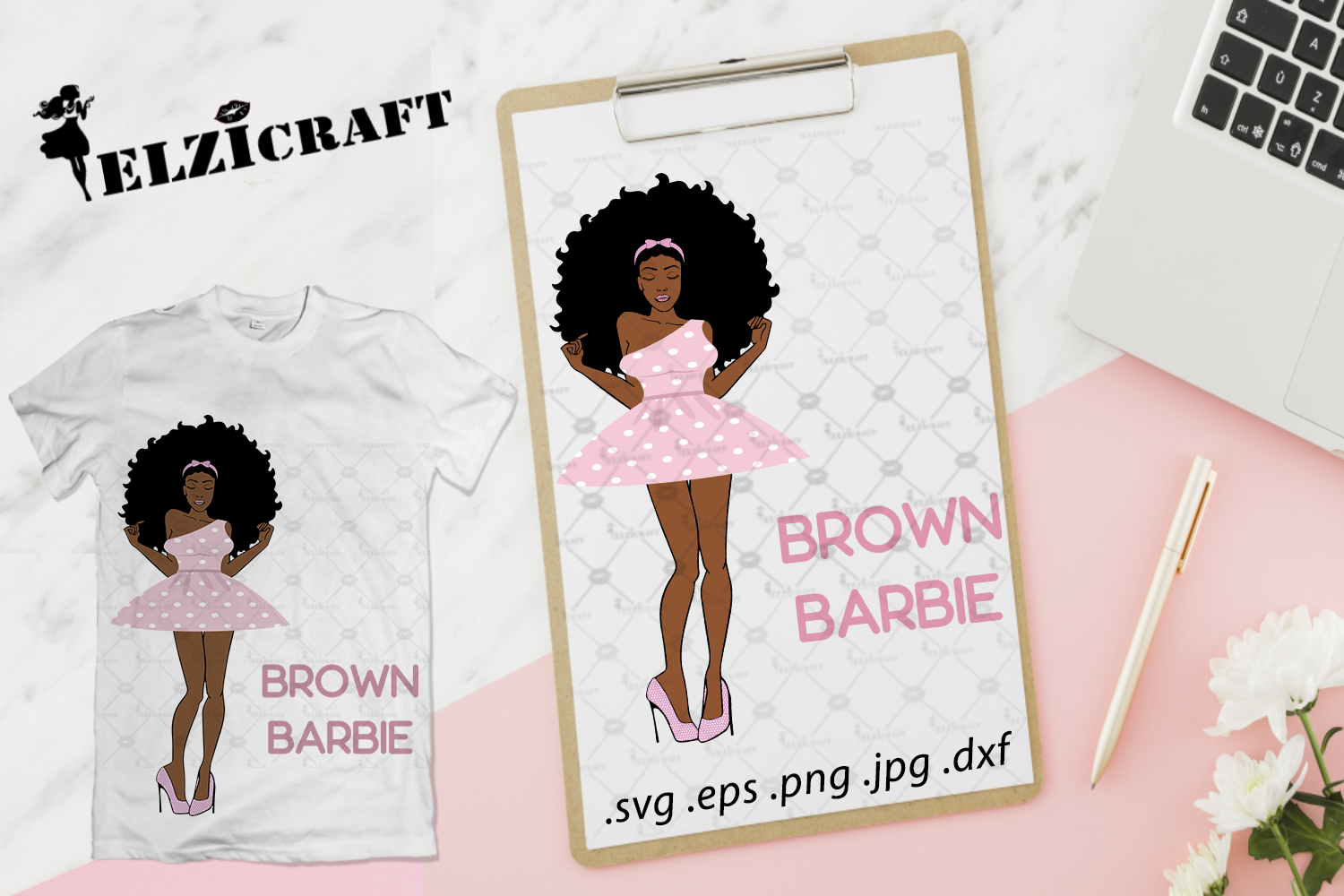 Download Free Afro Woman Brown Barbie Design Graphic By Elzicraft Creative for Cricut Explore, Silhouette and other cutting machines.
