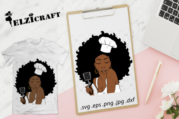 Afro Woman Chef with Spatula Design Graphic Crafts By elzicraft