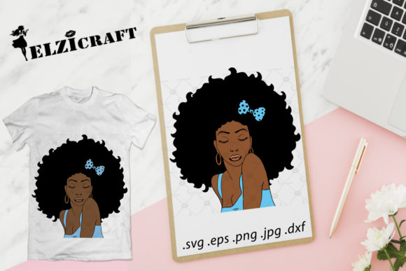 Download Free Afro Woman Design Graphic By Elzicraft Creative Fabrica for Cricut Explore, Silhouette and other cutting machines.
