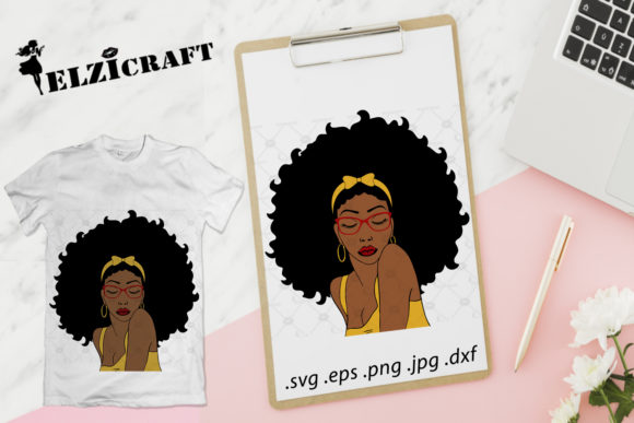 Afro Woman Glasses Design Graphic Crafts By elzicraft
