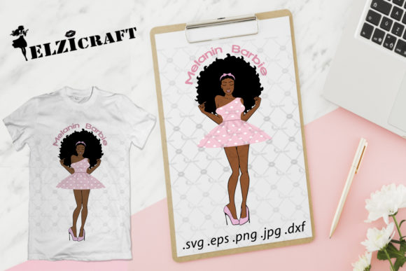 Download Free Afro Woman Melanin Barbie Design Graphic By Elzicraft Creative for Cricut Explore, Silhouette and other cutting machines.