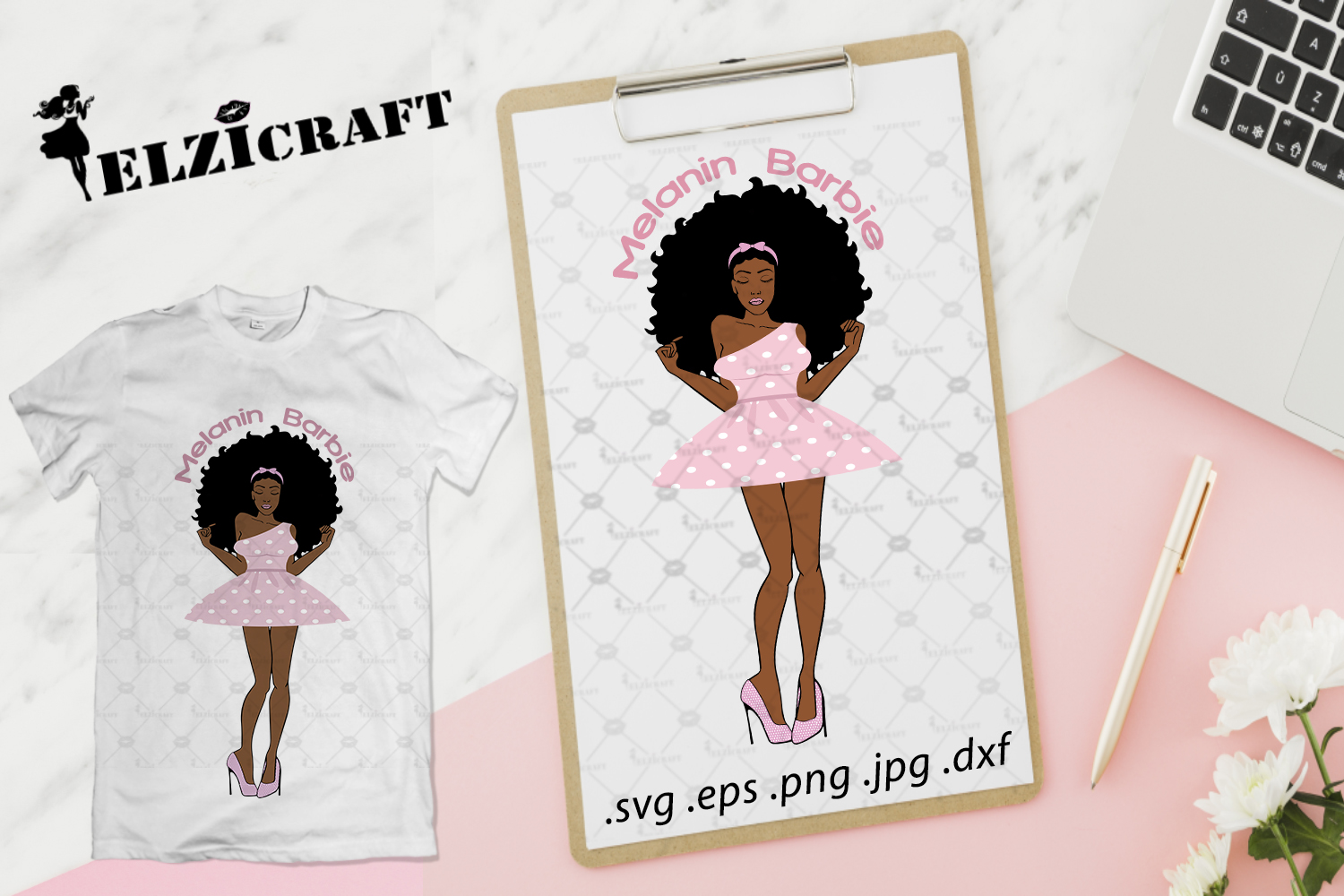 Download Free Afro Woman Melanin Barbie Design Grafico Por Elzicraft for Cricut Explore, Silhouette and other cutting machines.