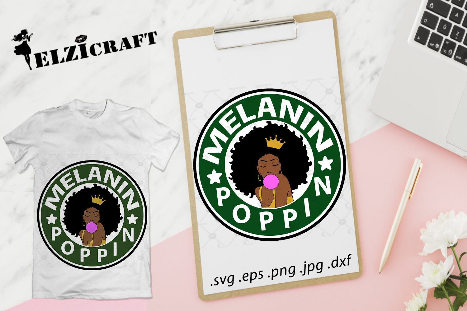 Afro Woman Melanin Poppin Design Graphic By Elzicraft Creative