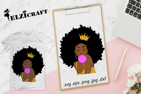 Download Free Afro Woman Melanin Poppin Design Graphic By Elzicraft Creative for Cricut Explore, Silhouette and other cutting machines.